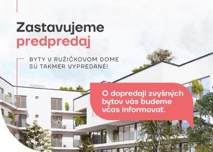 Zastavujeme predpredaj: Byty v Ružičkovom dome sú takmer vypredané!